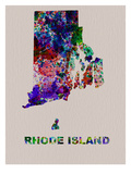 Rhode Island Color Splatter Map Posters by  NaxArt