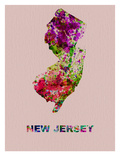 New Jersey Color Splatter Map Poster by  NaxArt