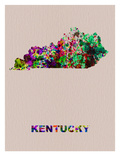 Kentucky Color Splatter Map Prints by  NaxArt