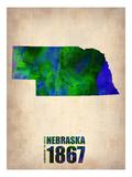 Nebraska Watercolor Map Poster von  NaxArt