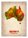 Australia Watercolor Map Posters av  NaxArt