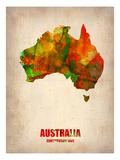 NaxArt - Australia Watercolor Map - Reprodüksiyon