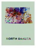 North Dakota Color Splatter Map Prints by  NaxArt
