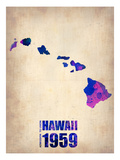 Hawaii Watercolor Map Prints by  NaxArt