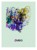 Ohio Color Splatter Map Prints by  NaxArt