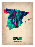Spain Watercolor Map Prints by  NaxArt
