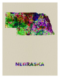 Nebraska Color Splatter Map Prints by  NaxArt