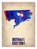 Detroit Watercolor Map Prints by  NaxArt