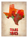 Texas Watercolor Map Posters by  NaxArt