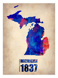 Michigan Watercolor Map Prints by  NaxArt