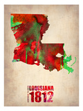 Louisiana Watercolor Map Print by  NaxArt
