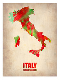 Italy Watercolor Map Poster von  NaxArt