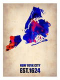 New York City Watercolor Map 1 Poster by  NaxArt