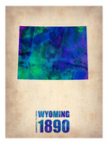 Wyoming Watercolor Map Posters by  NaxArt