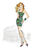 Colorful Fashion IV - Rome Print by Anne Tavoletti