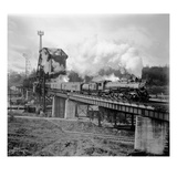 A Great Northern Railway Train on the G.N.R. Bridge across the Lake Washington Ship Canal in Ballar Giclee Print by Ashael Curtis