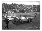 Earl Cooper and Eddie Hearne Driving Racing Cars, Tacoma Speedway (July 4, 1918) Giclee Print by Marvin Boland
