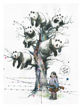 Panda Tree Reproduction procédé giclée par Lora Zombie