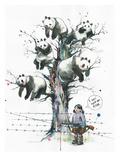 Panda Tree Poster par Lora Zombie