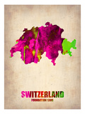Switzerland Watercolor Map Print by  NaxArt