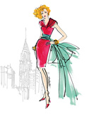 Colorful Fashion III - New York Poster by Anne Tavoletti