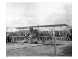 Harvey Crawford and Biplane at Tacoma (September 28, 1912) Giclee Print by Marvin Boland