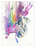 Falling Caused By Unicorn Giclee Print by Lora Zombie