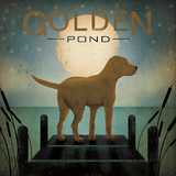 Moonrise Yellow Dog - Golden Pond Posters by Ryan Fowler