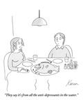 """They say it's from all the anti-depressants in the water."" - New Yorker Cartoon Premium Giclee Print by Karen Sneider"