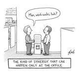 """""""The kind of synergy that can only happen at the office"""". Two men talking … - New Yorker Cartoon Premium Giclee Print by Tom Toro"""