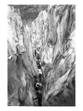 Mountaineering Party in Bottom of Crevasse, ca. 1905 Giclee Print by Ashael Curtis