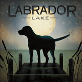 Moonrise Black Dog - Labrador Lake Kunst af Ryan Fowler