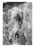Crossing Crevasse on the Nisqually Glacier, ca. 1905 Giclee Print by Ashael Curtis