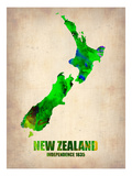 New Zealand Watercolor Map Giclee-tryk i høj kvalitet af  NaxArt