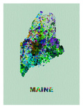 Maine Color Splatter Map Photographie par  NaxArt