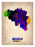 Belgium Watercolor Map Art by  NaxArt