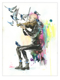 Old Man Punk and Violin Giclee Print by Lora Zombie