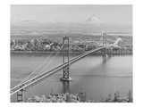 Tacoma Narrows Bridge from Gig Harbor Towards Tacoma, WA (ca. 1950) Giclee Print
