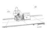 A strong man with a tattoo of an anchor on his biceps sits on a chair next… - New Yorker Cartoon Premium Giclee Print by Jason Patterson