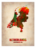 Netherlands Watercolor Map Prints by  NaxArt