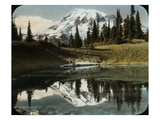 Mount Rainier and One of the Reflection Lakes, 1917 Giclee Print by Ashael Curtis