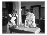 Two Girls in Chemistry Lab, Lincoln High School, Seattle, 1909 Giclee Print by Ashael Curtis