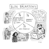 "CAPTIONLESS. Title: ""BLOG BREAKDOWN"" On graph: ""1/3 Crap somebody cooked, …"" - New Yorker Cartoon Premium Giclee Print by Roz Chast"