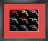 Gun, c.1982 (many/rainbow) Framed Giclee Print by Andy Warhol