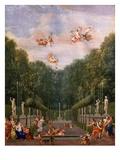 Galerie Des Antiques, Gardens of Château De Versailles, France, Gouache Giclee Print by Jean Joubert