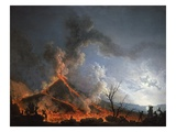 Eruption of Vesuvius, Italy, in 1767 Giclée-Druck von Pierre Jacques Volaire
