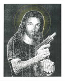 Jesus Gun Serigraph by  Print Mafia