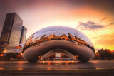 Chicago Cloud Gate Sunset Pósters