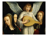 Angel Musician with Saints Agnes (D. 305), Fausta and Apollina (D. C. 248-9) Giclee Print by Gerard David