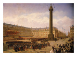 French Army Marching Through Place Vendôme, Paris, France, Upon their Return from Italy Giclee Print by Louis Eugene Ginain